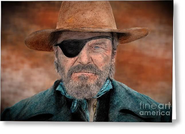 Jeff Bridges As U.s. Marshal Rooster Cogburn In True Grit  Greeting Card by Jim Fitzpatrick