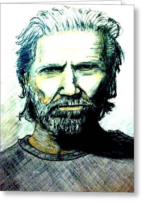Jeff Drawings Drawings Greeting Cards - Jeff bridges Greeting Card by Larry Lamb
