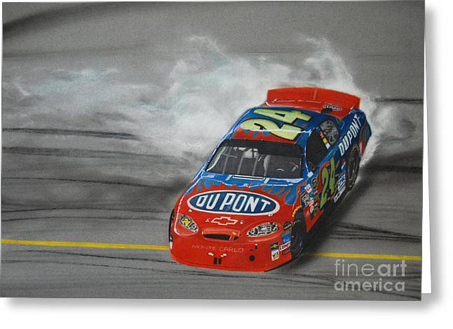 Jeff Gordon Greeting Cards - Jeff Gordon Victory Burnout Greeting Card by Paul Kuras