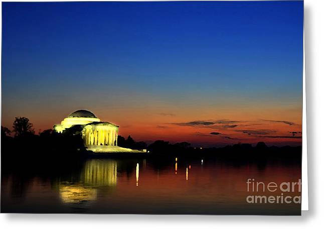 Us Capital Mixed Media Greeting Cards - Jefferson Monument Reflection Greeting Card by Lane Erickson
