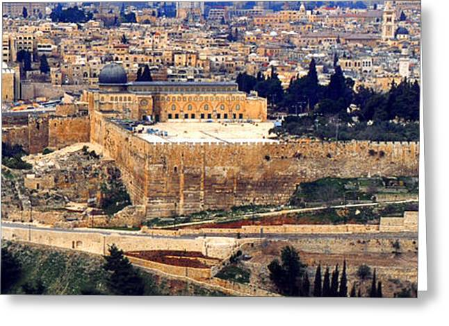 Mount Olives Greeting Cards - Jerusalem from Mount Olive Greeting Card by Thomas R Fletcher