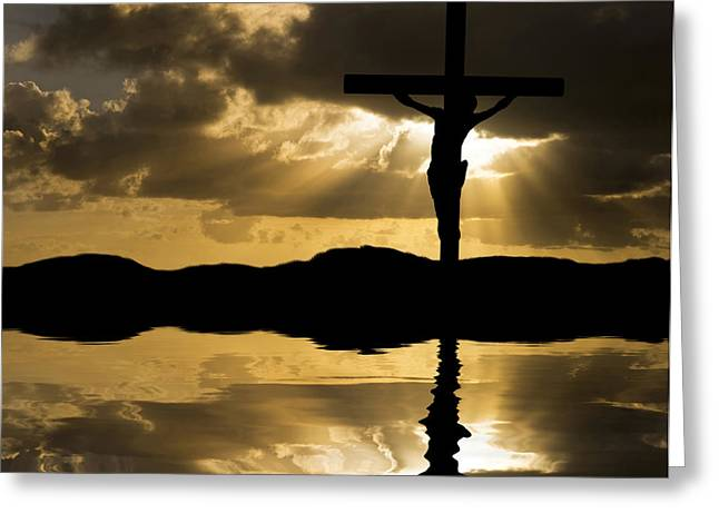 Creative Spirit Greeting Cards - Jesus Christ Crucifixion on Good Friday Silhouette reflected in  Greeting Card by Matthew Gibson