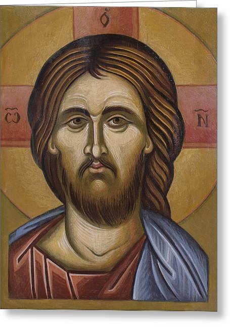 Icon Byzantine Greeting Cards - Jesus Chrrist Greeting Card by Anton Dimitrov