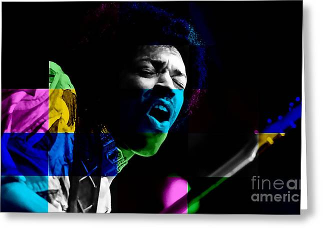 Wall Greeting Cards - Jimi Hendrix Greeting Card by Marvin Blaine