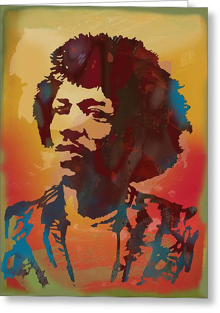 Popular Music Greeting Cards - Jimi Hendrix stylised pop art drawing potrait poster Greeting Card by Kim Wang
