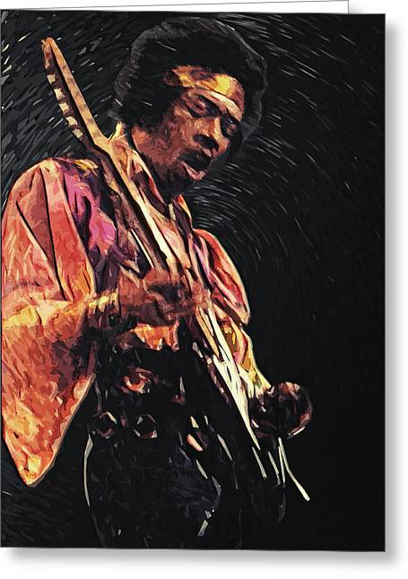 Guitarist Greeting Cards - Jimi Hendrix Greeting Card by Taylan Soyturk