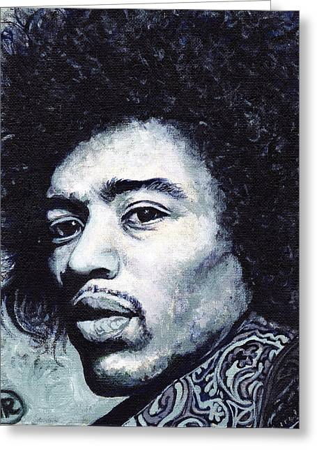 Rock And Roll Greeting Cards - Jimi Hendrix Greeting Card by Tom Roderick
