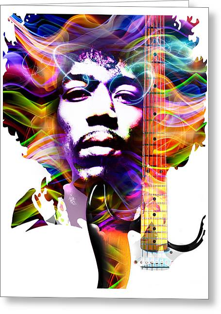Psychedelia Greeting Cards - Jimi Greeting Card by Mal Bray