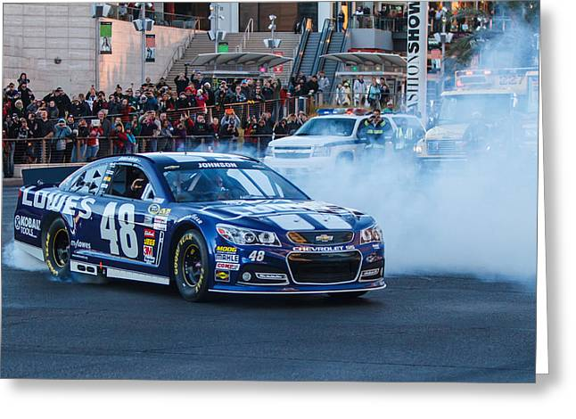 Jimmie Johnson Greeting Cards - Jimmie Johnson Greeting Card by James Marvin Phelps