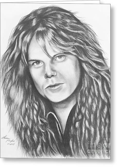 Graphite Greeting Cards - Joey Tempest Greeting Card by Lena Auxier