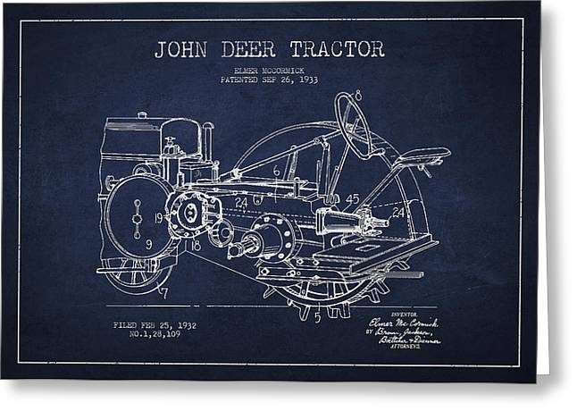 Tractors Greeting Cards - John Deer Tractor Patent drawing from 1933 Greeting Card by Aged Pixel