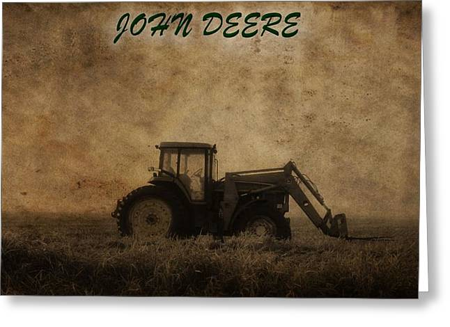 Feeding Mixed Media Greeting Cards - John Deere Greeting Card by Dan Sproul