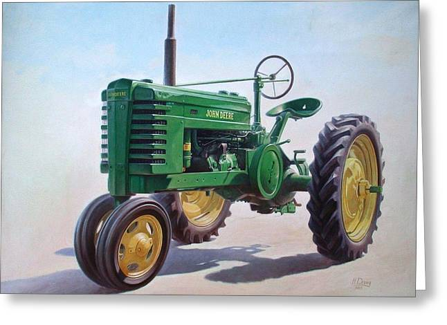 Equipment Greeting Cards - John Deere Tractor Greeting Card by Hans Droog