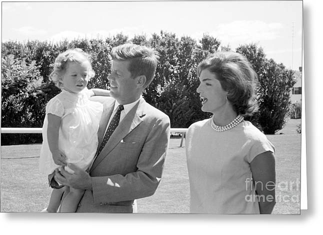 John F. Kennedy With Jacqueline And Caroline 1959 Greeting Card by The Phillip Harrington Collection