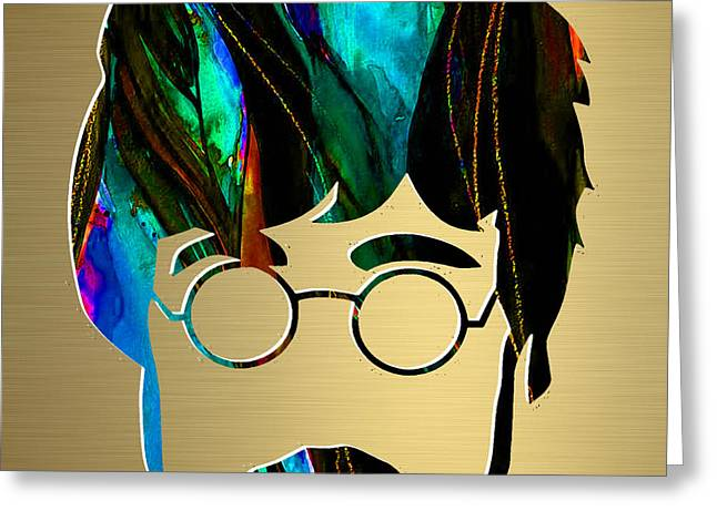 Best Sellers -  - Pop Mixed Media Greeting Cards - John Lennon Gold Series Greeting Card by Marvin Blaine