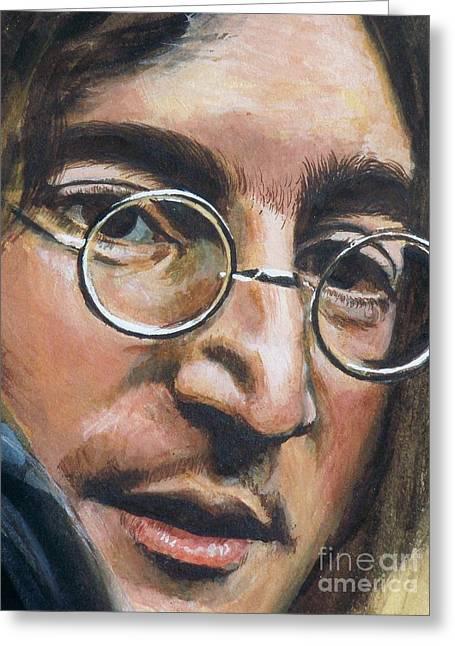 Mr Kite Greeting Cards - John Lennon Greeting Card by Kean Butterfield