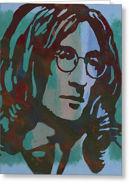 December Mixed Media Greeting Cards - John Lennon pop art sketch poster Greeting Card by Kim Wang