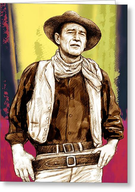 1907 Greeting Cards - John Wayne stylised pop art drawing potrait poser Greeting Card by Kim Wang