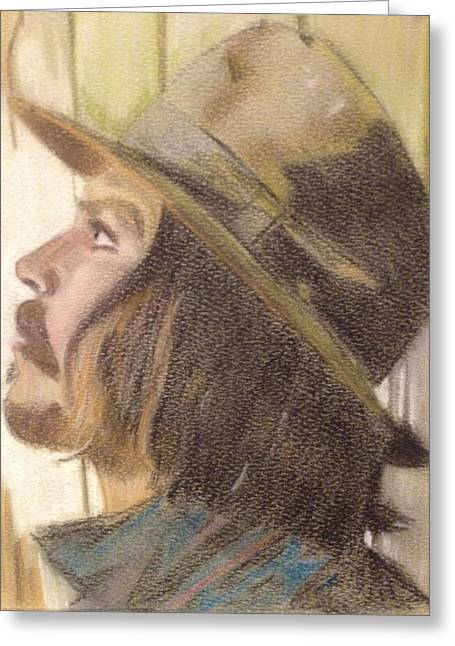 Actors Pastels Greeting Cards - Johnny Depp Greeting Card by Pam DeNeve