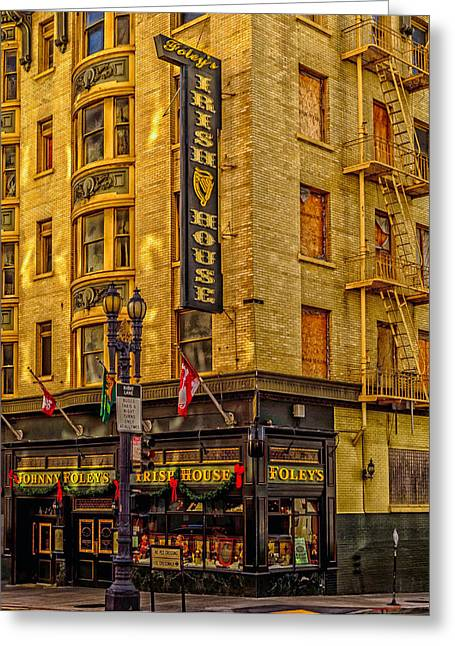 Historical Buildings Greeting Cards - Johnny Foleys Irish House - San Francisco Greeting Card by Mountain Dreams