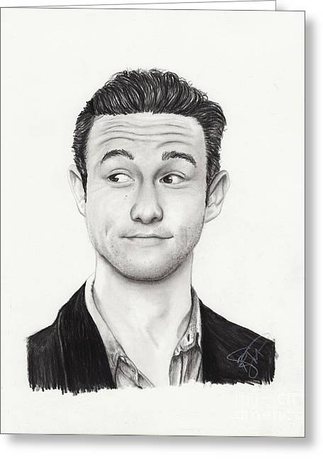 Charcoal Portrait Greeting Cards - Joseph Gordon Levitt Greeting Card by Rosalinda Markle