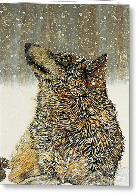 Wolf Greeting Cards - Joy Greeting Card by Debbie Chamberlin