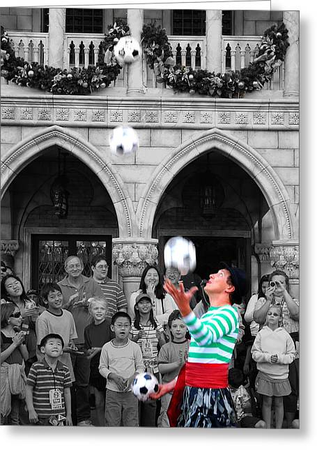 Juggler In Epcot Center Greeting Card by Jim Hughes