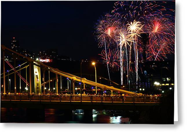 Rachel Carson Greeting Cards - July 4th Fireworks in Pittsburgh Greeting Card by Jetson Nguyen