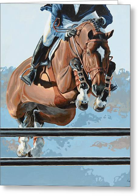 Horses Paintings Greeting Cards - High Style  Greeting Card by Lesley Alexander