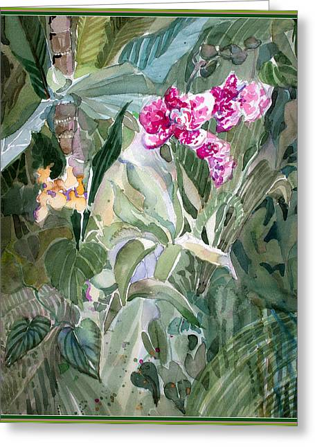 Mist Drawings Greeting Cards - Jungle Orchids Greeting Card by Mindy Newman
