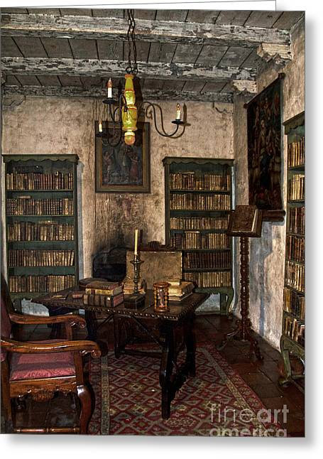 Bookcase Greeting Cards - Junipero Serra Library In Carmel Mission Greeting Card by RicardMN Photography