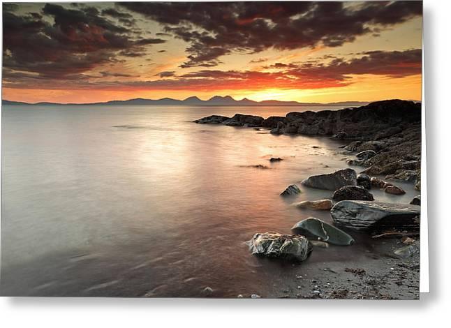 Scottish Scenic Greeting Cards - Jura Sunset Greeting Card by Grant Glendinning