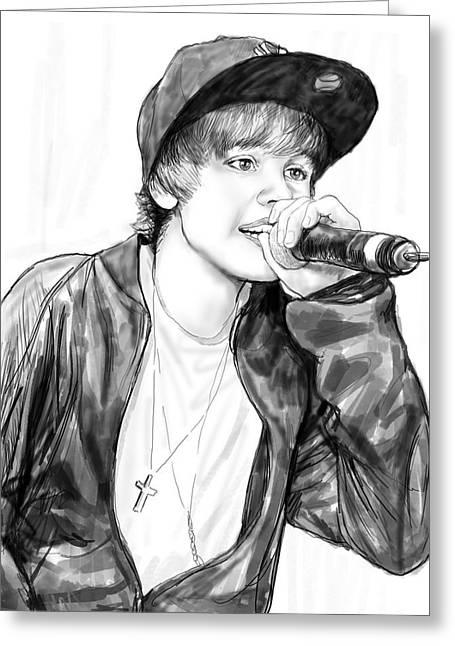 Justin Bieber Greeting Cards - Justin bieber art drawing sketch portrait Greeting Card by Kim Wang
