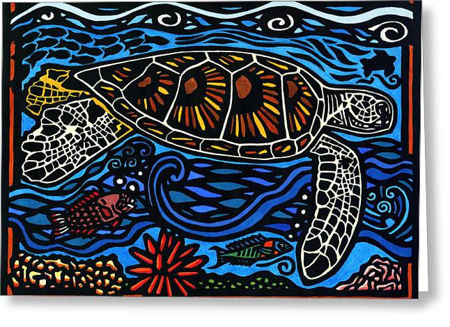 Lino Mixed Media Greeting Cards - Kahaluu Honu Greeting Card by Lisa Greig