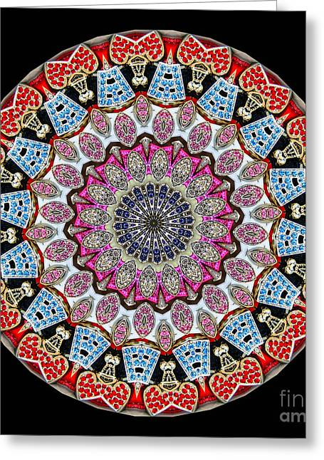 Jewels Greeting Cards - Kaleidoscope Colorful Jeweled Rhinestones Greeting Card by Amy Cicconi