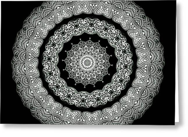 Biology Greeting Cards - Kaleidoscope Ernst Haeckl Sea Life Series Black and White Set On Greeting Card by Amy Cicconi