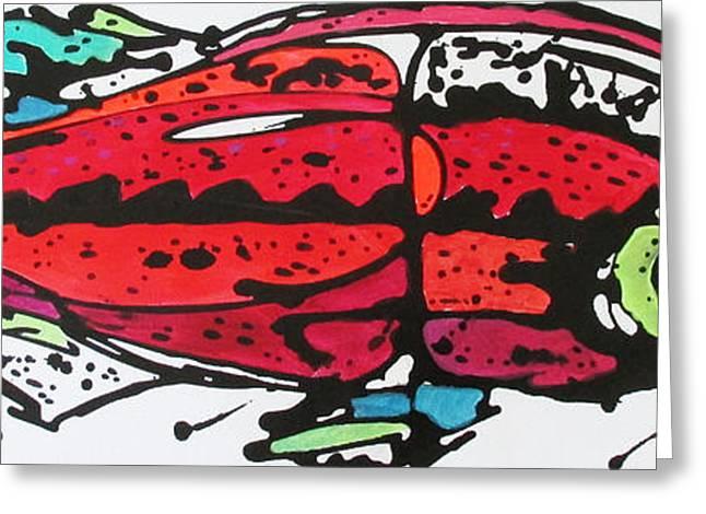 Salmon Paintings Greeting Cards - Karl Greeting Card by Nicole Gaitan