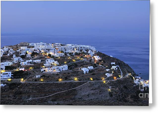 Cyclades Greeting Cards - Kastro village in Sifnos island Greeting Card by George Atsametakis