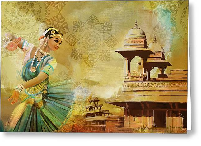 Pakistan Greeting Cards - Kathak Dancer Greeting Card by Catf