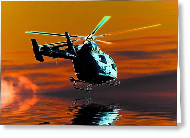 Helicopter Greeting Cards - Kent air ambulance Greeting Card by Sharon Lisa Clarke
