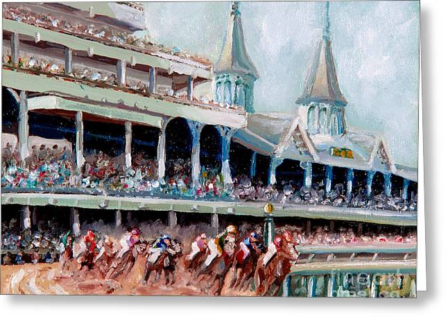 Horses Paintings Greeting Cards - Kentucky Derby Greeting Card by Todd Bandy
