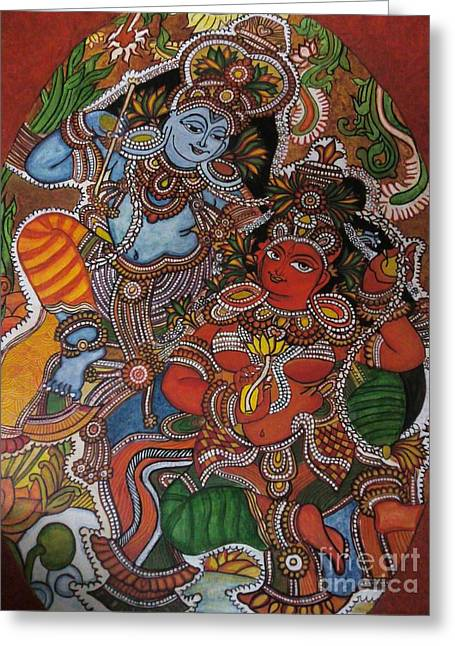 Kerala Murals Greeting Cards - Kerala Mural Greeting Card by Rekha Artz