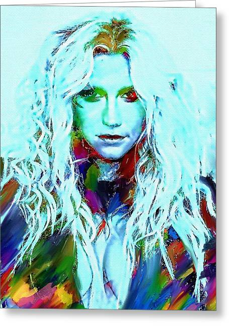 Top Model Greeting Cards - Kesha Greeting Card by Bogdan Floridana Oana