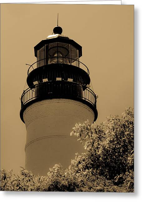 Aid To Navigation Greeting Cards - Key West Lighthouse Greeting Card by Ed Gleichman