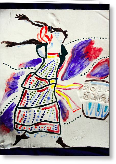Ugandan Ceramicist Ceramics Greeting Cards - Kiganda Dance - Uganda Greeting Card by Gloria Ssali