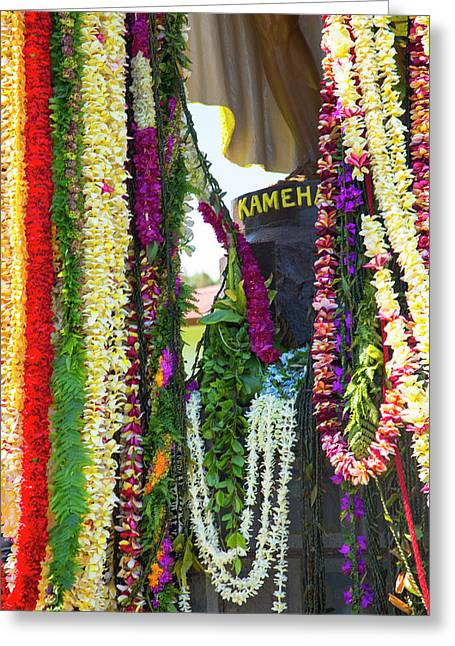 King Kamehameha Statue, Flower Leis Greeting Card by Douglas Peebles