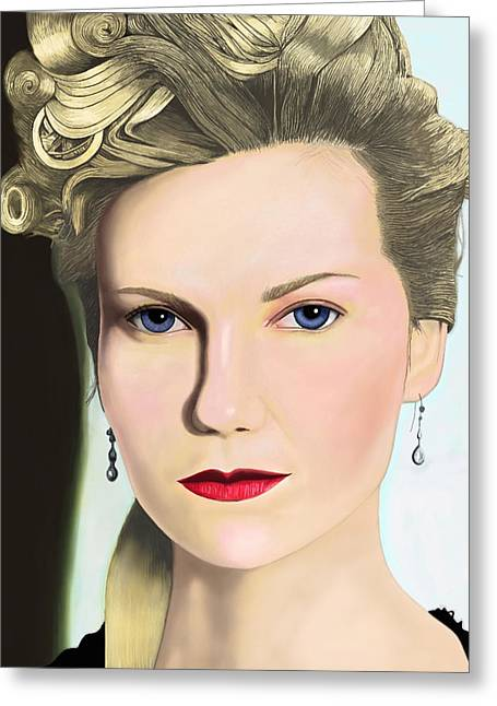 Trianon Greeting Cards - Kirsten Dunst Greeting Card by Andrew Harrison