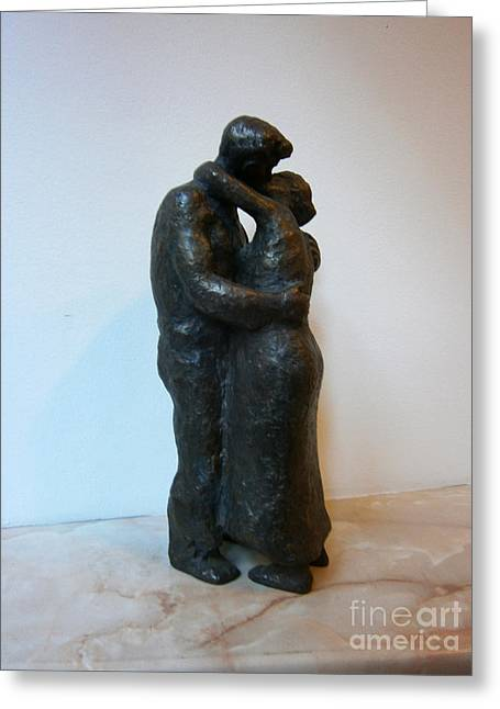 Figurine Sculptures Greeting Cards - Kiss Greeting Card by Nikola Litchkov