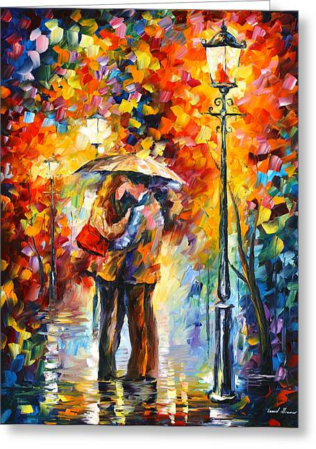 Park Scene Paintings Greeting Cards - Kiss Under The Rain Greeting Card by Leonid Afremov