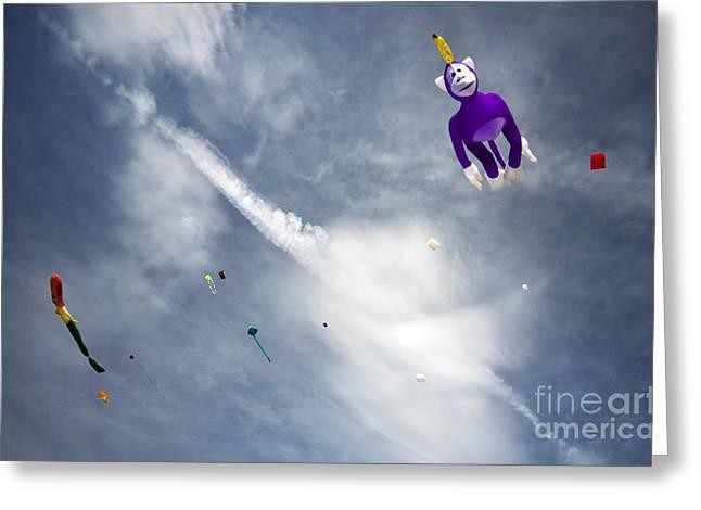 Kites On The Sky Greeting Card by Angel  Tarantella